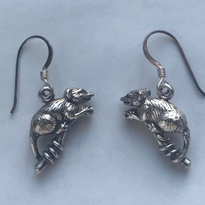 opossum earrings pierced ears
