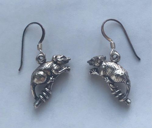 opossum earrings pierced ears